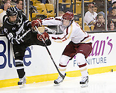 Steven Shamanski (PC - 28), Destry Straight (BC - 17) - The Boston College Eagles defeated the Providence College Friars 4-2 in their Hockey East semi-final on Friday, March 16, 2012, at TD Garden in Boston, Massachusetts.