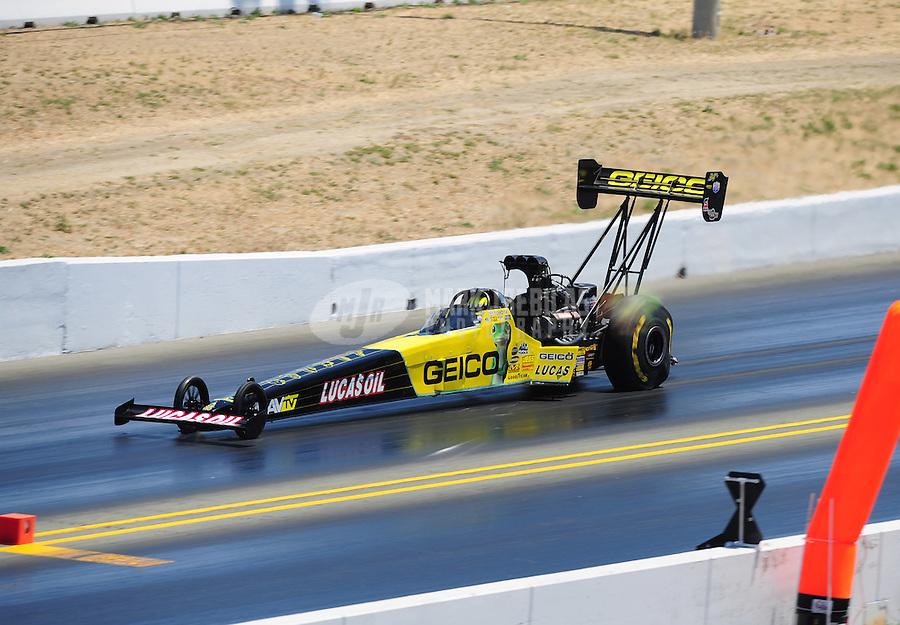 Jul. 30, 2011; Sonoma, CA, USA; NHRA top fuel dragster driver Morgan Lucas during qualifying for the Fram Autolite Nationals at Infineon Raceway. Mandatory Credit: Mark J. Rebilas-
