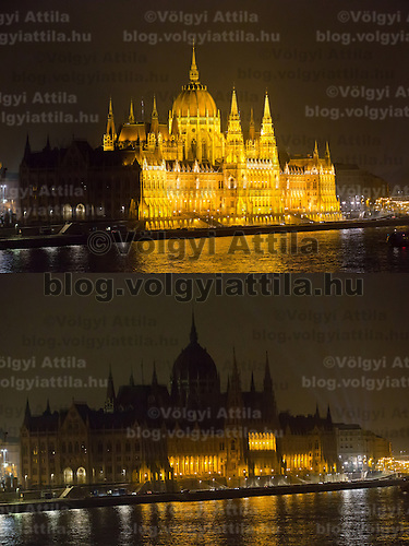 Combination photo shows the Hungarian Parliament taken during the Earth Hour before (above) and after (below) the lights went off in Budapest, Hungary on March 23, 2013. ATTILA VOLGYI