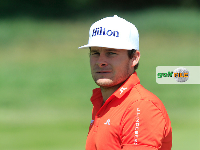 Tyrrol Hatton (ENG) on the 9th fairway during Round 2 of the Open de Espana  in Club de Golf el Prat, Barcelona on Friday 15th May 2015.<br /> Picture:  Thos Caffrey / www.golffile.ie