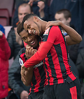 Jordon Ibe of AFC Bournemouth celebrates his goal with Lys Mousset of AFC Bournemouth during the Premier League match between Bournemouth and Arsenal at the Goldsands Stadium, Bournemouth, England on 14 January 2018. Photo by Andy Rowland.