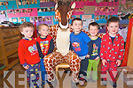 Harold the Giraffe visited Raheen Montessori playgroup last week to mark National Pyjama day. .L-R Elizabeth Roche, Clodagh McCarthy, 'Harold', Eoin O'Sullivan, Sean Forrestal and Oisin Butler.