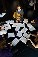 Pictured: Year 9 and 10 pupils rehearse Wales National Opera's Rhondda Rips It UP at of John Frost School in Newport, Wales, UK. Thursday 11 May 2018<br /> Re: Welsh National Opera is creating a new musical hall-style all female piece for the summer called Rhondda Rips It Up. It's about the life of suffragette Lady Rhondda with songs inspired by suffragette slogans. Opera opening next month in Newport, south Wales, where Lady Rhondda blew up a postbox with a home-made bomb and went to jail for.