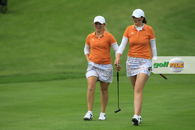 Olivia Mehaffey and Bronte Law on the 9th during the Saturday Afternoon Fourballs of the 2016 Curtis Cup at Dun Laoghaire Golf Club on Saturday 11th June 2016.<br /> Picture:  Golffile | Thos Caffrey