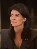 United States Ambassador to the United Nations Nikki Haley listens during a lunch with the United Nations Security Council at The White House in Washington, DC, January  29, 2018. <br /> Credit: Chris Kleponis / Pool via CNP