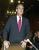 Robert S. Mueller, III, waits to give testimony before the United States Senate Committee on the Judiciary on his nomination to be Director of the Federal Bureau of Investigation (FBI) on Capitol Hill in Washington, DC on July 30, 2001. If confirmed, Mueller will succeed Louis J. Freeh.<br /> Credit: Ron Sachs / CNP