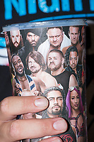 WWE Champion Jinder Mahal (in turban at top of cup) is seen on a commerative cup featuring WWE wrestlers sold during the WWE Live Summerslam Heatwave Tour event at the MassMutual Center in Springfield, Massachusetts, USA, on Mon., Aug. 14, 2017.