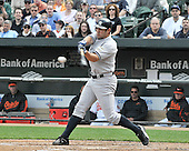 Baltimore, MD - April 9, 2009 -- New York Yankee left fielder Johnny Damon (18) grounds out in the third inning against the Baltimore Orioles at Oriole Park at Camden Yards in Baltimore, MD on Thursday, April 9, 2009..Credit: Ron Sachs / CNP.(RESTRICTION: NO New York or New Jersey Newspapers or newspapers within a 75 mile radius of New York City)