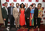 'The Great Comet': Sam Pinkleton, Dave Malloy, Josh Groban, Denée Benton, Lucas Steele, Rachel Chavkin, Bradley King, and Paloma Young attends The New Dramatists' 68th Annual Spring Luncheon at the Marriott Marquis on May 16, 2017 in New York City.