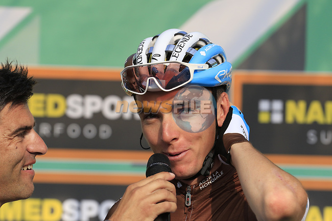 Romain Bardet (FRA) AG2R La Mondiale at sign on before the start of the 112th edition of Il Lombardia 2018, the final monument of the season running 241km from Bergamo to Como, Lombardy, Italy. 13th October 2018.<br /> Picture: Eoin Clarke | Cyclefile<br /> <br /> <br /> All photos usage must carry mandatory copyright credit (© Cyclefile | Eoin Clarke)