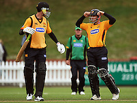 Wellington batsmen James Franklin and Matthew Bell during the State Shield cricket match between the Wellington Firebirds and Central Stags at Allied Prime Basin Reserve, Wellington, New Zealand on Sunday, 11 January 2009. Photo: Dave Lintott / lintottphoto.co.nz
