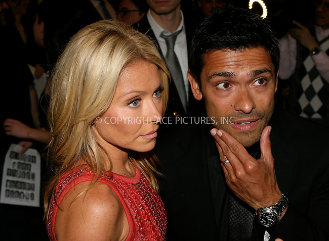 WWW.ACEPIXS.COM . . . . .  ....April 27 2011, New York City....Kelly Ripa and Mark Consuelos arriving at the Broadway opening night of 'The Normal Heart' at The Golden Theatre on April 27, 2011 in New York City. ....Please byline: NANCY RIVERA- ACEPIXS.COM.... *** ***..Ace Pictures, Inc:  ..Tel: 646 769 0430..e-mail: info@acepixs.com..web: http://www.acepixs.com