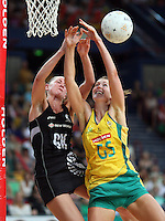 02.11.2008 Silver Ferns Casey Williams and Australia's Kate Beveridge in action during the Holden International Netball test match between the Silver Ferns and Australia played at Brisbane Entertainment Centre in Brisbane Australia. Mandatory Photo Credit ©Michael Bradley.
