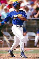 TEMPE, AZ - Ken Griffey Jr. of the Seattle Mariners in action during a spring training game at Tempe Diablo Stadium in Tempe, Arizona in 1991. Photo by Brad Mangin
