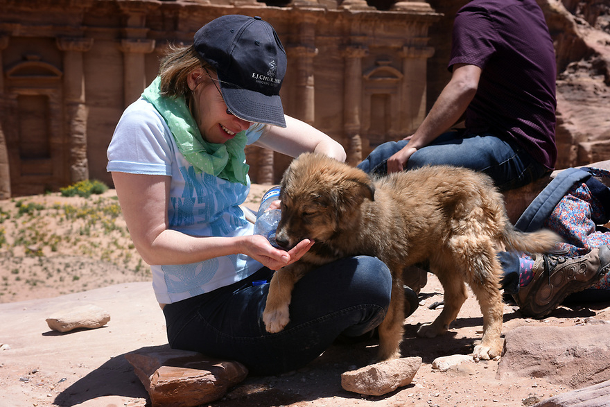 A PIECE OF JORDAN - TRAVEL FEATURE. JOURNALIST HAZEL SOUTHAM IN FRONT OF THE MONASTERY AT THE ANCIENT NABATEAN SITE OF PETRA, JORDAN.  PHOTO BY CLARE KENDALL. 07971 477316.