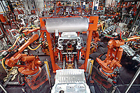 Car assembly line in the Peugeot Car Plant, Ryton Lane, Coventry UK. This image may only be used to portray the subject in a positive manner..©shoutpictures.com..john@shoutpictures.com