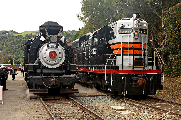 The Robert Dollar Co. steam engine #3 and Southern Pacific SD-9 Diesel #5472 at the Sunol Station in Sunol, California. The Robert Dollar was built in 1927 by the American Locomotive Company (ALCO) and remained in service with the Robert Dollar Lumber Co. until 1959. 5472 was built by GM EMD in La Grange, Il and delivered to SP in 1956.