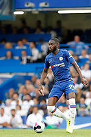 Fikayo Tomori of Chelsea with the ball at his feet during the Premier League match between Chelsea and Sheff United at Stamford Bridge, London, England on 31 August 2019. Photo by Carlton Myrie / PRiME Media Images.