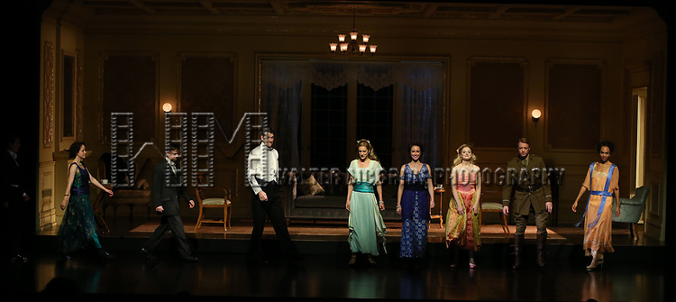Alfredo Narciso, Brooke Bloom, Steven Boyer, Gabriel Ebert, Charlotte Parry, Anna Camp, Anna Baryshnikov, Matthew James Thomas and Cara Ricketts during the Broadway Opening Night performance Curtain Call Bows for The Roundabout Theatre Company production of 'Time and The Conways'  on October 10, 2017 at the American Airlines Theatre in New York City.