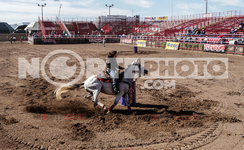 Barrileras, durante el 3er. d&iacute;a de competencia del Campeonato Nacional de Rodeo. Area de Rodeo de la Expogan Sonora. *****<br /> &copy;Foto: LuisGutierrrez/NortePhoto