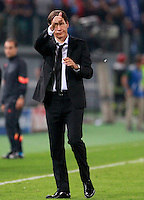 Calcio, Champions League, Gruppo E: Roma vs CSKA Mosca. Roma, stadio Olimpico, 17 settembre 2014.<br /> Roma coach Rudi Garcia, of France, greets fans at the end of the Group E Champions League football match between AS Roma and CSKA Moskva at Rome's Olympic stadium, 17 September 2014. AS Roma won 5-1.<br /> UPDATE IMAGES PRESS/Isabella Bonotto