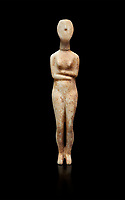 Marble female Cycladic statue figurine with folded arms of the Spedos type. Early Cycladic Period II (2800-2300 BC) from Stavros cemetery, Amorgos, grave 5, Cat No 4719. National Archaeological Museum, Athens. <br /> <br /> This Cycladic statue figurine is of the Spedos type standing on tip tie with bended knees and arms folded under the breasts with head raiised.