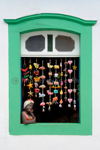 Lovingly decorated shop window in Paraty's historic center; Paraty, Espirito Santo, Brazil. The beautiful colonial town of Paraty has been a UNESCO World Heritage Site since 1958. --- No signed releases available.