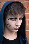 Model released portrait teenage young man made up as a Goth, UK