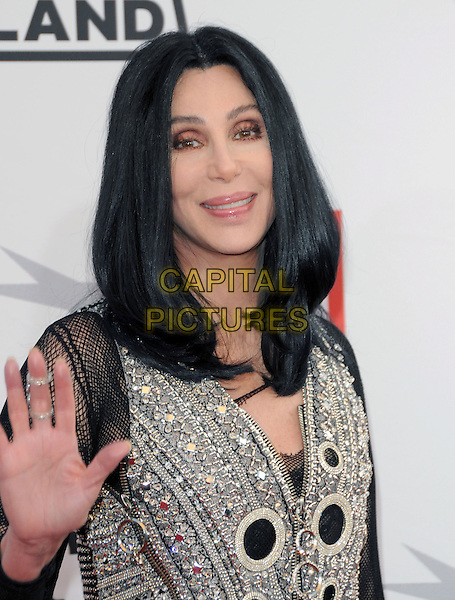 CHER .at the 38th Annual Lifetime Achievement Award Honoring Mike Nichols held at Sony Picture Studios Culver City, California, USA, June 10th 2010..portrait headshot hair wig make-up silver black beaded embellished sheer   mesh fishnet  jewel gem encrusted   hand waving                                                               .CAP/RKE/DVS.©DVS/RockinExposures/Capital Pictures.