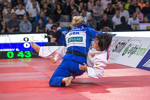 11th February 2018, Accorhotels Arena, Paris, France; Judo Paris Grand Slam 2018, Day 2; Sally Conway (GBR B) throws Chizuru Fujiwara (JPN W) in the -70kg final