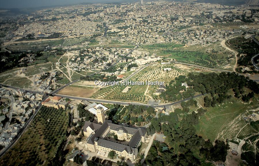 Israel, Jerusalem, Augusta Victoria hospital on Mount Scopus overlooking East Jerusalem