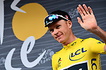 Tour winner Yellow Jersey Chris Froome (GBR) Team Sky at sign on before the start of Stage 21 of the 104th edition of the Tour de France 2017, an individual time trial running 1.3km from Montgeron to Paris Champs-Elysees, France. 23rd July 2017.<br /> Picture: ASO/Alex Broadway | Cyclefile<br /> <br /> <br /> All photos usage must carry mandatory copyright credit (&copy; Cyclefile | ASO/Alex Broadway)