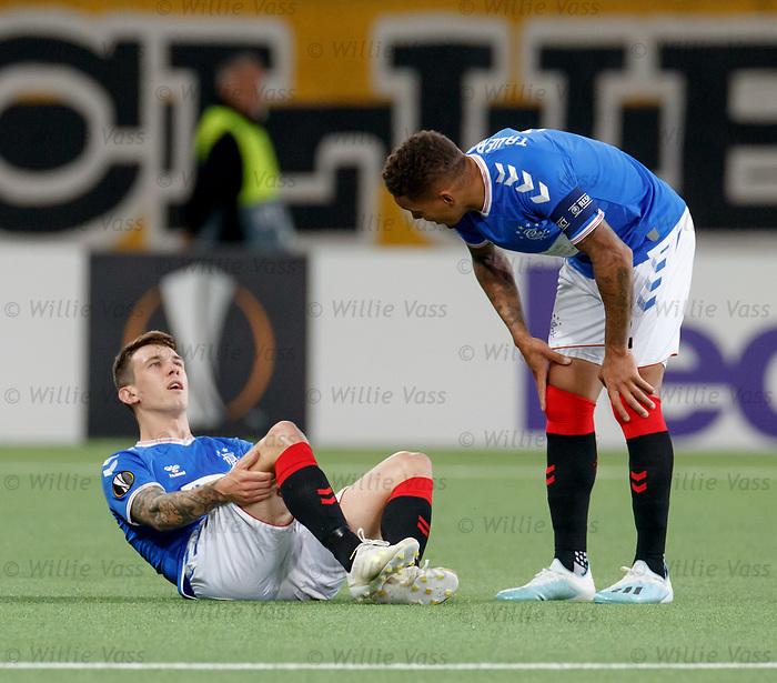 03.10.2019 Young Boys of Bern v Rangers: Ryan Jack injured