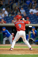 Clearwater Threshers third baseman Luke Williams (9) at bat during a game against the Dunedin Blue Jays on April 6, 2018 at Spectrum Field in Clearwater, Florida.  Clearwater defeated Dunedin 8-0.  (Mike Janes/Four Seam Images)
