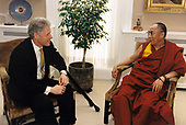 United States President Bill Clinton, left, meets His Holiness, the XIV Dalai Lama, Tenzin Gyatso, right, in the White House West Wing office of Vice President Al Gore (not pictured) in Washington, D.C. on Wednesday, April 23, 1997.<br />