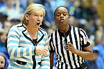 03 March 2013: UNC head coach Sylvia Hatchell (left) with referee Denise Brooks (right). The Duke University Blue Devils played the University of North Carolina Tar Heels at Cameron Indoor Stadium in Durham, North Carolina in a 2012-2013 NCAA Division I and Atlantic Coast Conference women's college basketball game. Duke won the game 65-58.