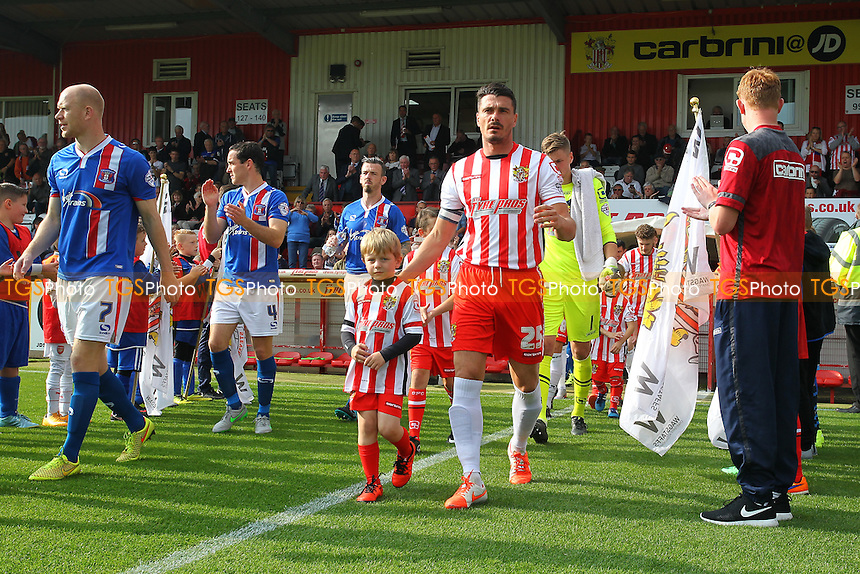 Ron Henry leads out Stevenage during Stevenage vs Carlisle United, Sky Bet League 2 Football at the Lamex Stadium, Stevenage, England on 03/10/2015