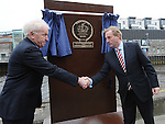 An Taoiseach Enda Kenny and Jimmy Deenehan TD unveil a plaque at the Famine Commemoration in Drogheda. Photo: Colin Bell/pressphotos.ie