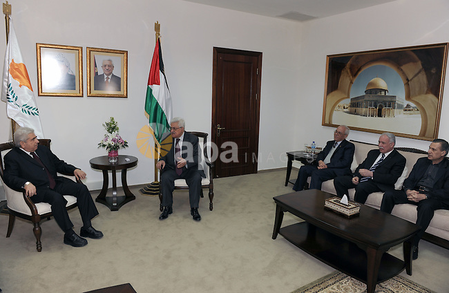 Palestinian President Mahmoud Abbas meets with the Cypriot President Dimitris Christofias in the West Bank city of Ramallah March 15, 2011. Christofias is on an official visit to Israel and the Palestinian authority. Photo by Thaer Ganaim