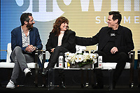 "BEVERLY HILLS - AUGUST 2: Executive Producer/Showrunner/Writer Dave Holstein, Catherine Keener, Executive Producer/Star Jim Carrey onstage during the ""Kidding"" panel at the Showtime portion of the Summer 2019 TCA Press Tour at the Beverly Hilton on August 2, 2019 in Los Angeles, California. (Photo by Frank Micelotta/PictureGroup)"