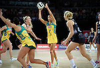 15.10.2016 Australia's Kim Ravaillion in action during the Silver Ferns v Australia netball test match played at Vector Arena in Auckland. Mandatory Photo Credit ©Michael Bradley.