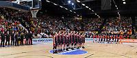 20200206 – OOSTENDE ,  BELGIUM : Belgian Julie Allemand (55), Belgian Jana Raman (42), Belgian Billie Massey (34), Belgian Heleen Nauwelaers (32), Belgian Hanne Mestdagh (22), Belgian Kyara Linskens (13), Belgian Ann Wauters (12), Belgian Emma Meesseman (11), Belgian Laure Resimont (10), Belgian Marjorie Carpreaux (9), Belgian Antonia Delaere (6) and Belgian Kim Mestdagh (5) pictured in a team line up during the national anthem prior to a basketball game between the national teams of Canada and the National team of Belgium named the Belgian Cats on the first matchday of the FIBA Women's Qualifying Tournament 2020 , on Thursday 6  th February 2020 at the Versluys Dome in Oostende  , Belgium  .  PHOTO SPORTPIX.BE   DAVID CATRY