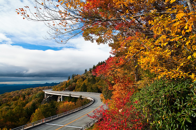Autumn colors along the Linn Cove Viaduct, Blue Ridge Parkway