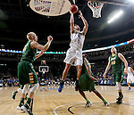 SIOUX FALLS, SD - MARCH 7:  Layup by John Konchar #4 of Fort Wayne with North Dakota State players Dexter Werner #40, Kory Brown #22 and A.J. Jacobson #21 looking on in the 2016 Summit League Tournament. (Photo by Dave Eggen/Inertia)