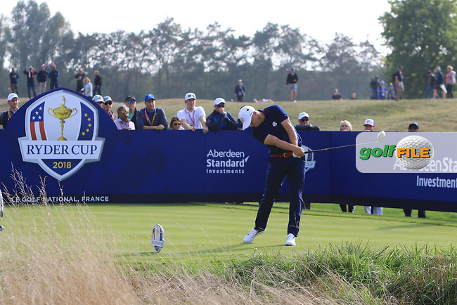 Alex Noren (Team Europe) on the 6th tee during the Friday Foursomes at the Ryder Cup, Le Golf National, Ile-de-France, France. 28/09/2018.<br /> Picture Thos Caffrey / Golffile.ie<br /> <br /> All photo usage must carry mandatory copyright credit (© Golffile | Thos Caffrey)