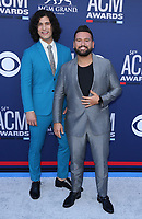 07 April 2019 - Las Vegas, NV - Dan+Shay, Dan Smyres, Shay Mooney. 54th Annual ACM Awards Arrivals at MGM Grand Garden Arena. Photo Credit: MJT/AdMedia<br /> CAP/ADM/MJT<br /> &copy; MJT/ADM/Capital Pictures