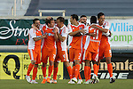 02 May 2015: Carolina's Nacho Novo (ESP) (left) celebrates his goal with teammates. The Carolina RailHawks hosted the Tampa Bay Rowdies at WakeMed Stadium in Cary, North Carolina in a North American Soccer League 2015 Spring Season match. The game ended in a 1-1 tie.