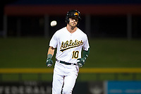 Mesa Solar Sox right fielder Skye Bolt (10), of the Oakland Athletics organization, rounds the bases after hitting a home run during an Arizona Fall League game against the Scottsdale Scorpions at Sloan Park on October 10, 2018 in Mesa, Arizona. Scottsdale defeated Mesa 10-3. (Zachary Lucy/Four Seam Images)