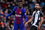 7th January 2018, Camp Nou, Barcelona, Spain; La Liga football, Barcelona versus Levante; Ousmane Dembélé of FC Barcelona watches as his shot misses the goal