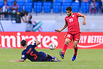 Sami Mohamed Alhusaini of Bahrain (R) fights for the ball with Adison Promrak of Thailand (L) during the AFC Asian Cup UAE 2019 Group A match between Bahrain (BHR) and Thailand (THA) at Al Maktoum Stadium on 10 January 2019 in Dubai, United Arab Emirates. Photo by Marcio Rodrigo Machado / Power Sport Images